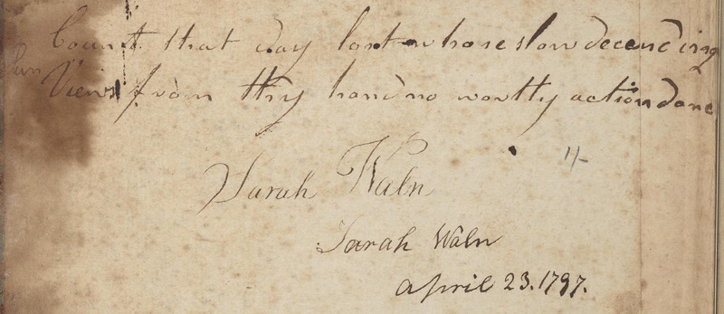 Sarah's Waln Bulkeley's Commonplace Book (1797-1821)